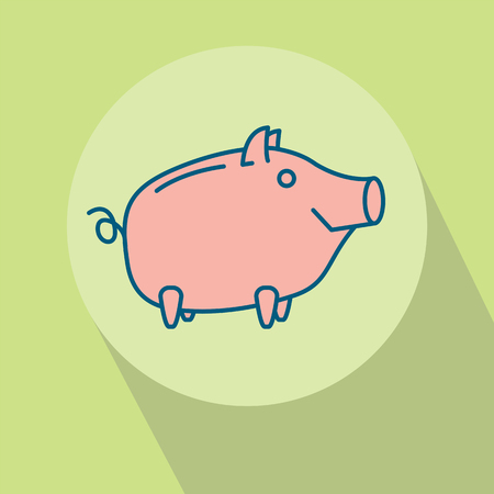 Happy Piggy bank or money box symbol. Thin line linear vector illustration Stock Photo