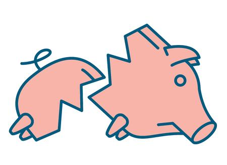 money symbol: Sad broken Piggy bank or money box symbol. Thin line linear vector illustration Stock Photo