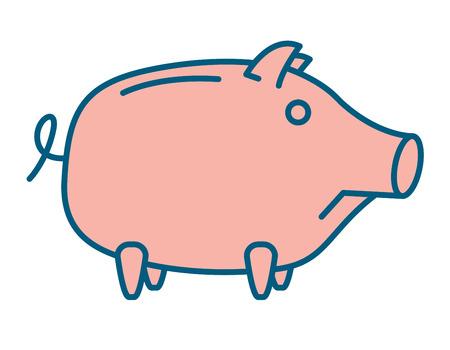 money symbol: Sad Piggy bank or money box symbol. Thin line linear vector illustration Stock Photo