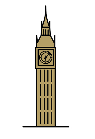 bigben: London Big Ben watchtower thin line linear flat illustration