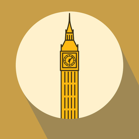 London Big Ben watchtower thin line linear flat illustration