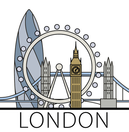 gherkin: London city skyline. Thin line linear illustration Illustration