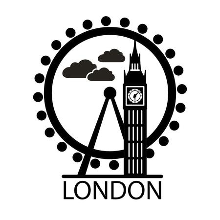 London city skyline silhouette. Thin line linear illustration