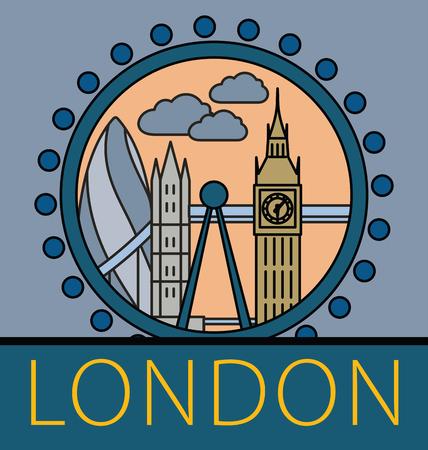 gherkin building: London city skyline. Thin line linear illustration Illustration