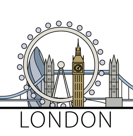 gherkin building: London city skyline. Thin line linear illustration Stock Photo