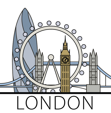 gherkin: London city skyline. Thin line linear illustration Stock Photo