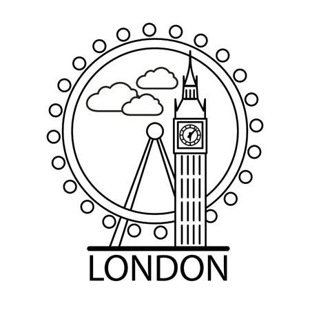 London city skyline. Thin line linear illustration Stock Photo