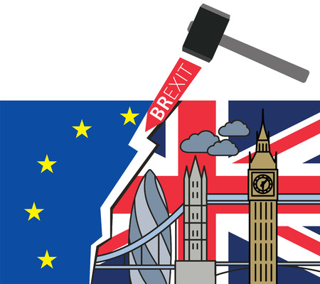 Brexit Great Britain leaving EU vector illustration