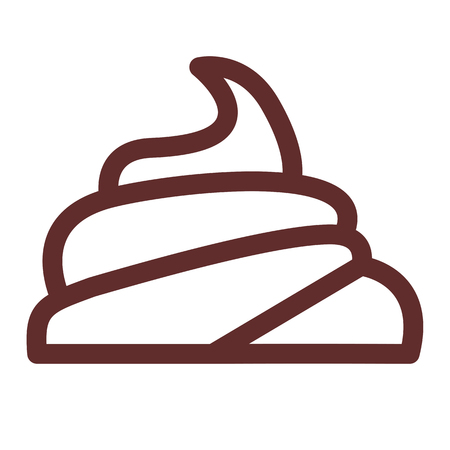 feces: Large pile of fresh shit. Linear thin line vector illustration