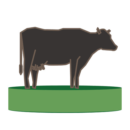 Line silhouette of Standing Cow. Linear thin line vector illustration