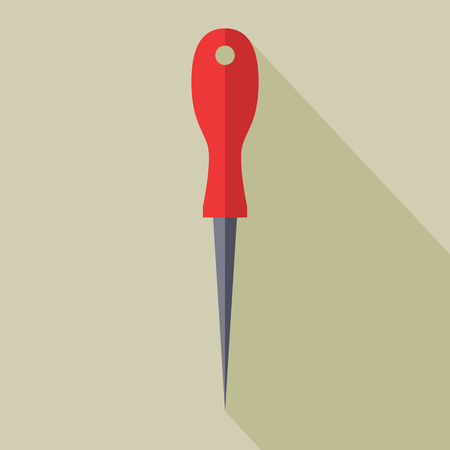 hole puncher: Sharp Awl Tool. Flat design vector illustration