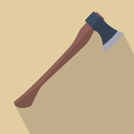 iron: Axe with wooden handle. Flat design vector illustration