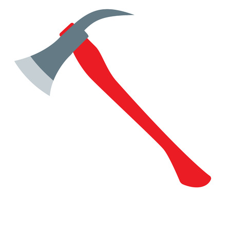 wooden cut: Firefighters Axe with red handle. Flat design vector illustration