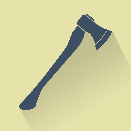 iron: Silhouette of Silhouette of Axe. Flat design vector illustration