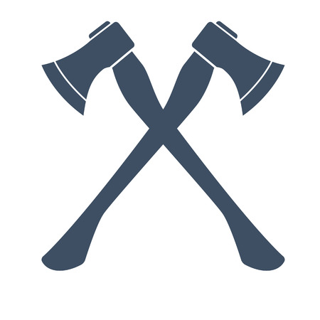 iron: Silhouette of two crossed Axes. vector illustration