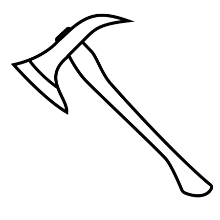Firefighters Axe. Linear thin line vector illustration Stock Photo