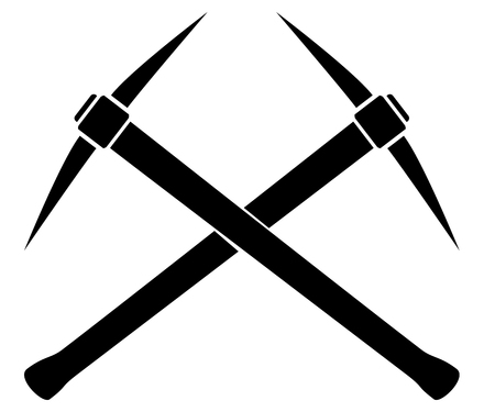 mattock: Silhouette of two crossed pickaxes.