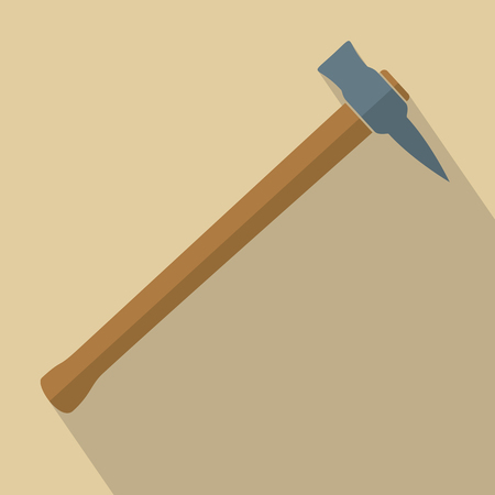 wooden cut: Axe with wooden handle. Flat design vector illustration
