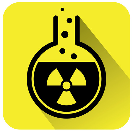 yellow beware: Chemical test tube icon. Vector illustration