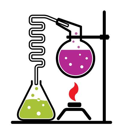 poison bottle: Chemical experiment laboratory set. Vector illustration Stock Photo