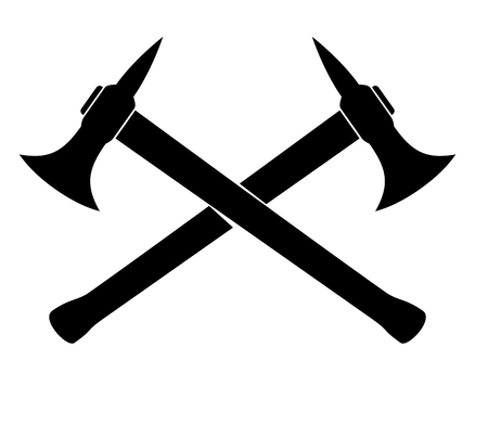 Silhouette of two crossed Axes. vector illustration