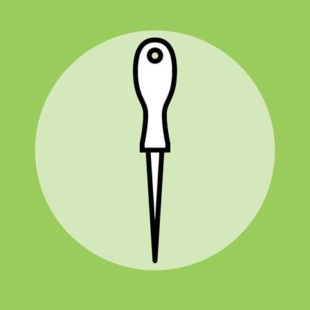 Sharp Awl Tool. Flat design vector illustration