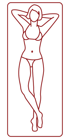 Young woman on the beach towel tanning. Illustration