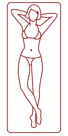 Young woman on the beach towel tanning. Linear vector illustration Stock Photo
