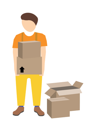 movers: Young male mover with two cardboard boxes in his hands. Vector illustration. Stock Photo