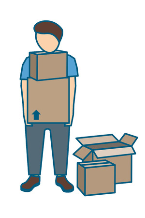 Young male mover with two cardboard boxes in his hands. Vector illustration. Stock Photo