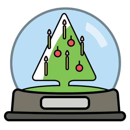 Snow globe with Christams Tree. Vector illustration