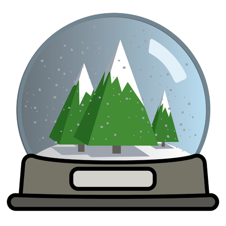 Snow globe with three greem snow covered pyramidal Christmas trees. Vector illustration