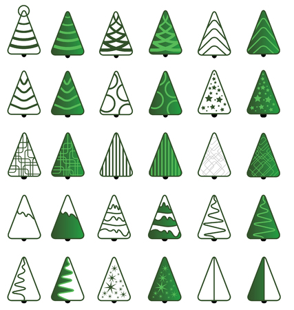 Green Christmas Tree Icon set