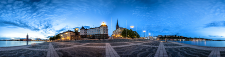 Stockholm Old Town  Skyline in Gamla Stan. 360 degree Panoramic montage from 21 images Foto de archivo