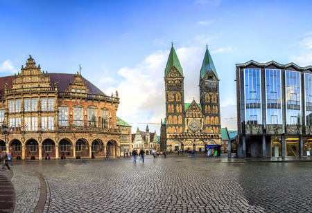 Bremen main market square in the centre of the Hanseatic City, Germany
