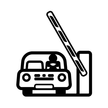 Car at Open Barrier Gate. Linear vector illustration with editable line.