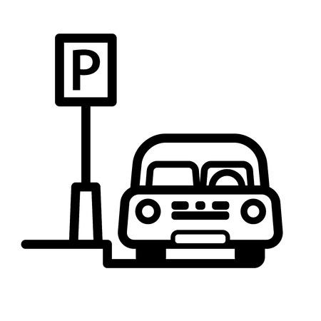 路上駐車場所に駐車した乗用車。編集可能な線を持つ線形ベクトル図。  イラスト・ベクター素材