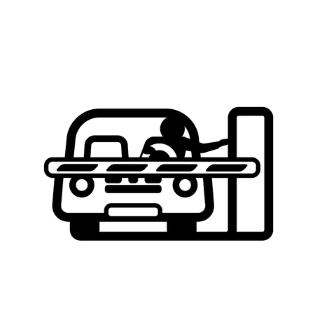 Car at Closed Barrier Gate. Linear vector illustration with editable line. Illustration