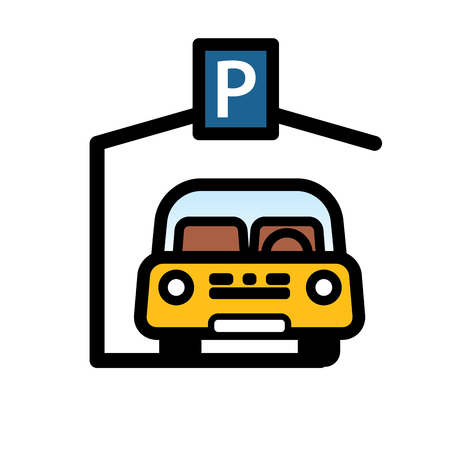 Yellow Passenger Car Parked in covered parking space. Linear vector illustration with editable line.