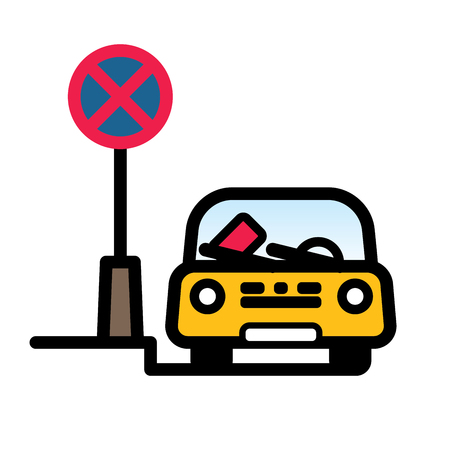 Passenger Car Parked at Street in restricted place with fine ticket on windshield. Linear vector illustration with editable line. EPS10