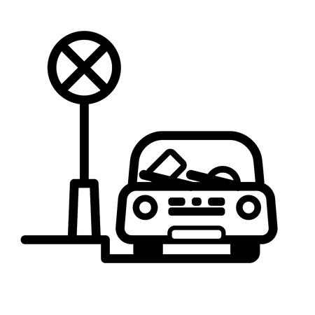 Passenger Car estacionado na rua em local restrito com multa bilhete no pára-brisa. Ilustração vetorial linear com linha editável. EPS10