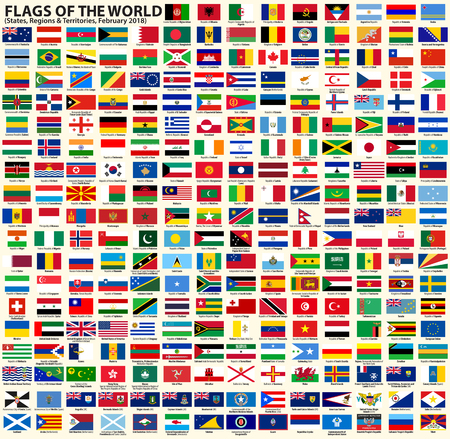 Flags of sovereign states, regions and other territories vector set, February 2018. Each flag on separate layer with country name. Illustration
