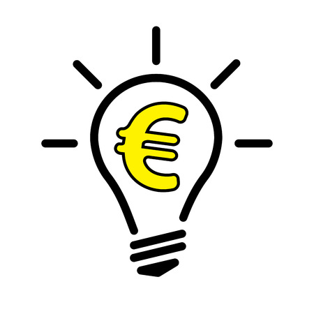 Electric Light Bulb Lamp with Euro currency symbol. Concept of bright idea. Linear vector illustration with editable line Stock Photo