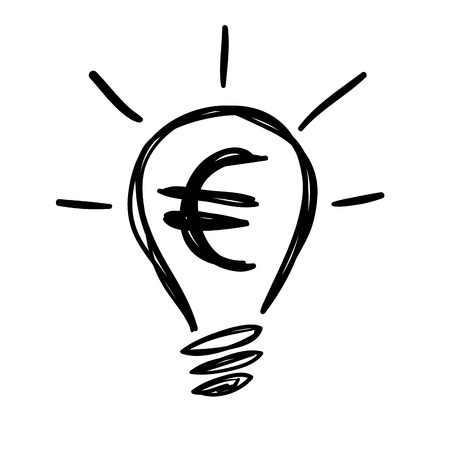 Electric Light Bulb Lamp with Euro currency symbol. Concept of bright idea. Linear vector illustration with editable line
