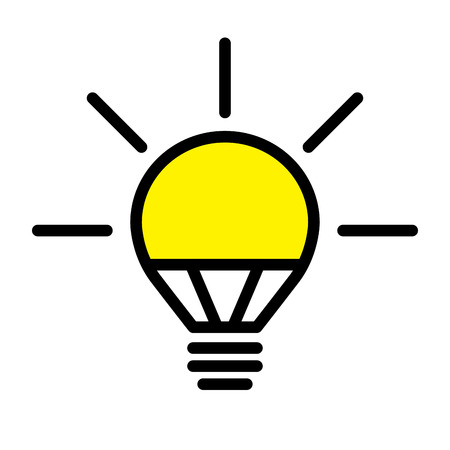 Electric LED Light Bulb Lamp. Symbol of bright idea. Linear vector illustration with editable line