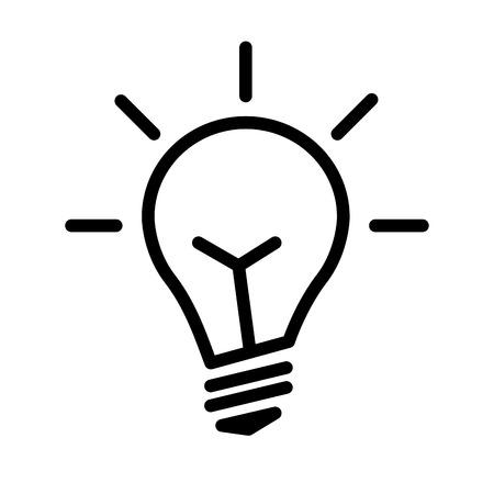 Elektrische gloeilamp. Symbool van helder idee. Lineaire vectorillustratie met bewerkbare lijn