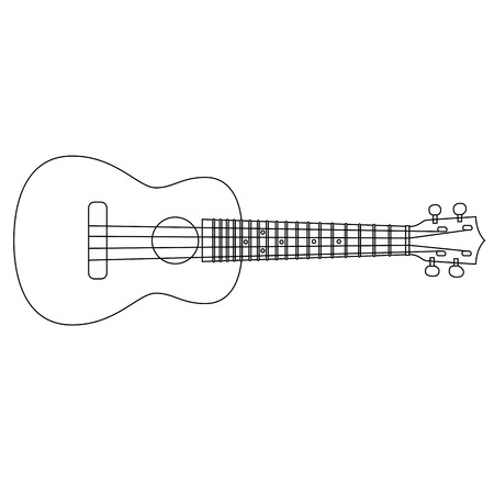 Concert Ukulele - Hawaiian string musical instrument. Thin line vector illustration. Stock Illustratie