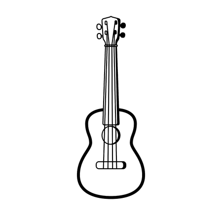 Concert Ukulele - Hawaiian string musical instrument. Line Vector illustration.