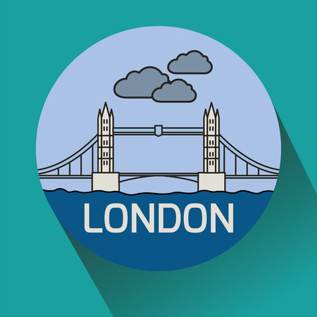 London Tower Bridge as seen from River Thames. Linear vector illustration