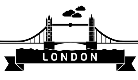 Silhouette London Tower Bridge as seen from River Thames. Linear vector illustration